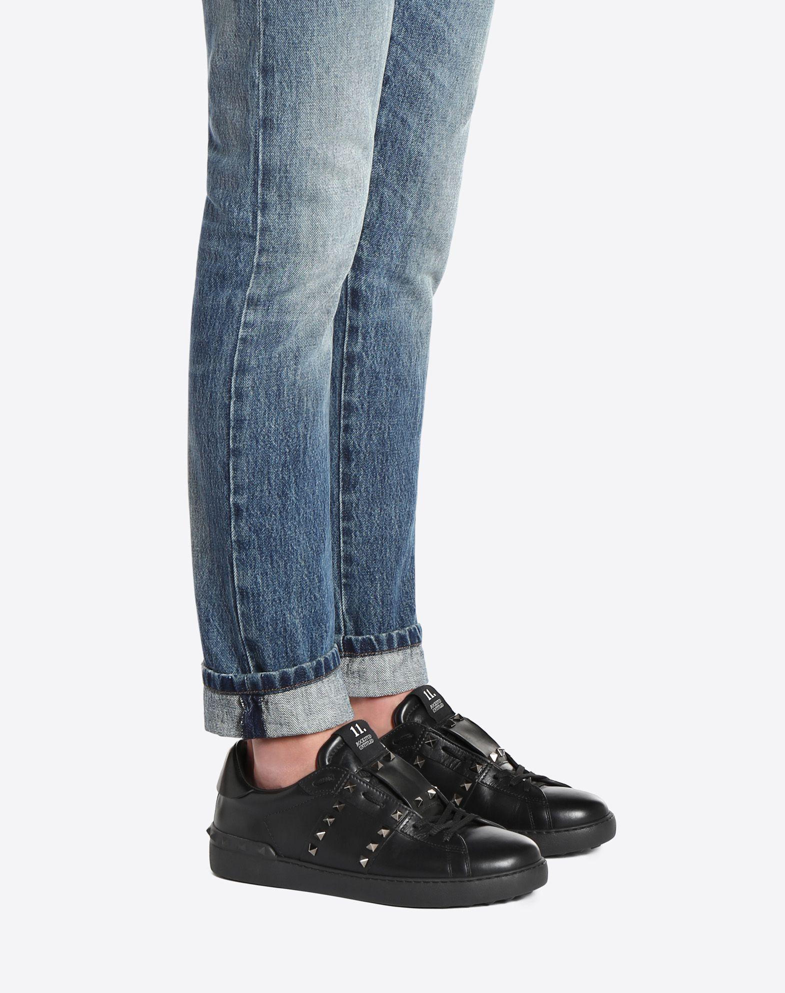 ffb8c929a Valentino Rockstud Untitled Men's Leather Low-Top Sneaker, Black ...