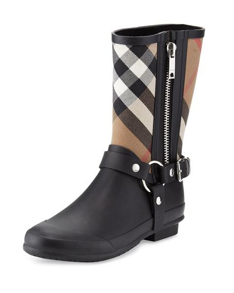 fa1f594dd9e29 Burberry Buckle And Strap Detail Check Rain Boots In Black | ModeSens