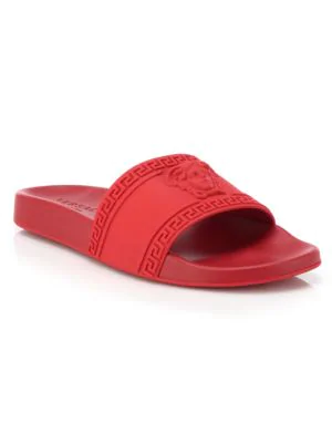 8d0203529be53 Versace Men s Medusa   Greek Key Shower Slide Sandals In Red