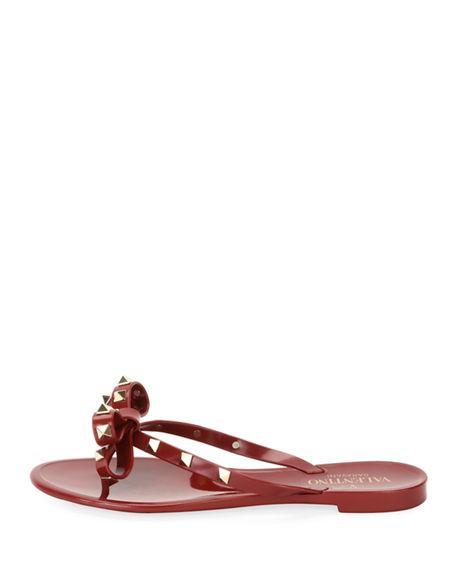 3943b88619b Valentino Jelly Rockstud Flat Thong Sandals In Dark Red