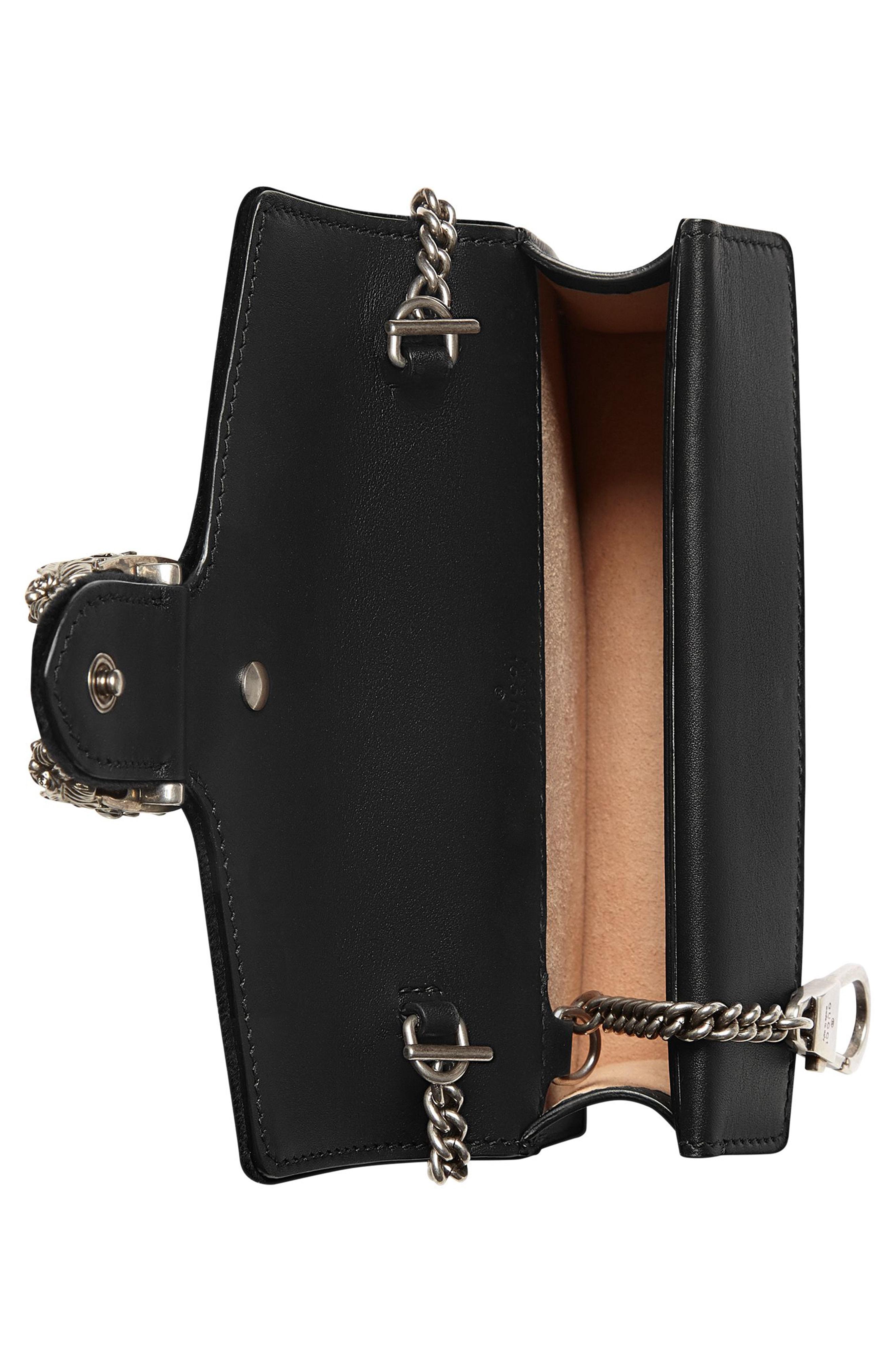 e859a4451b4 Gucci Super Mini Dionysus Leather Shoulder Bag - Black