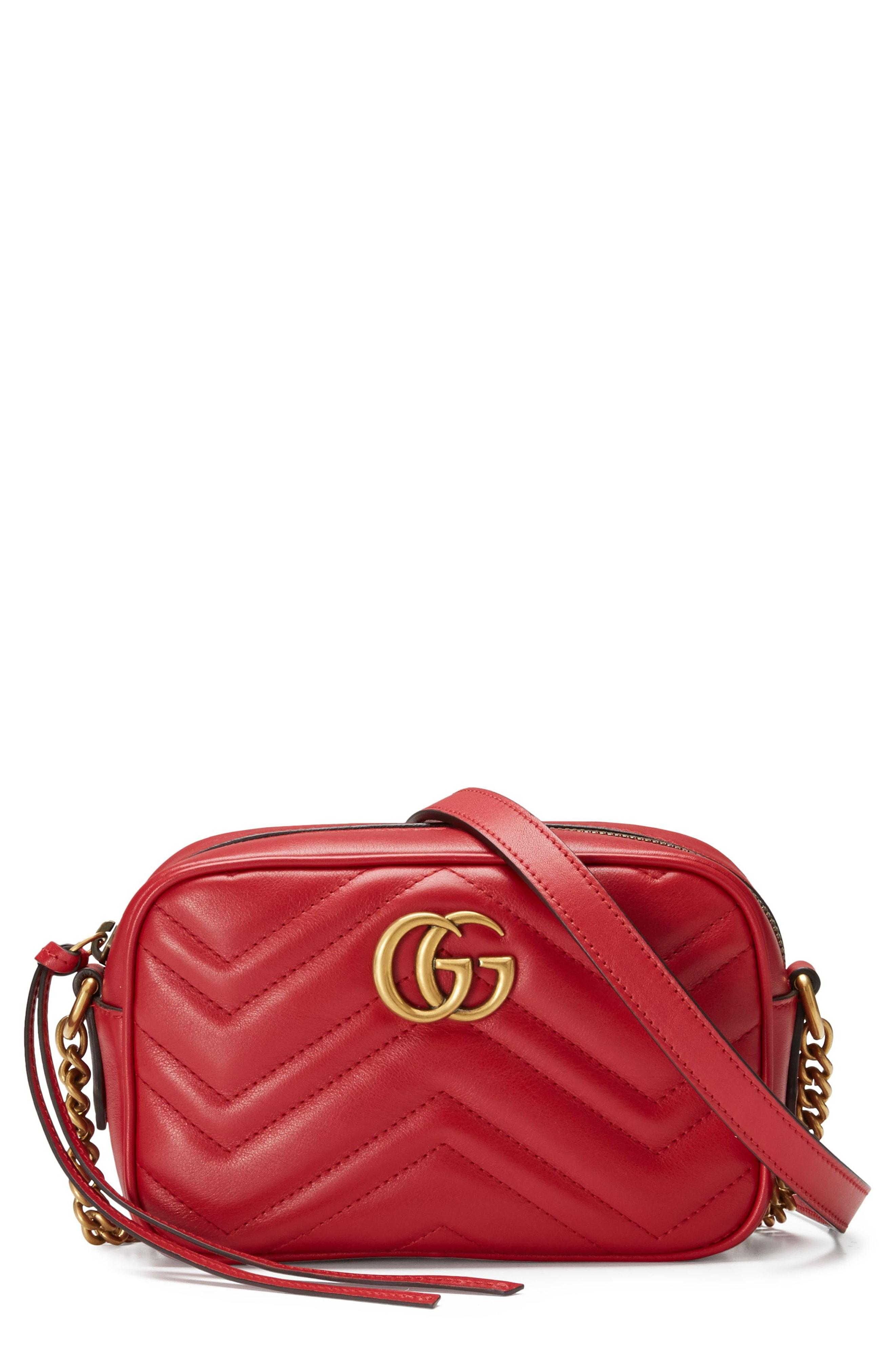 2127a611d445 Gucci Women's Red Gg Marmont Mini Quilted Leather Cross-Body Bag ...