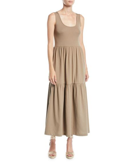 Plus Size Tiered Long Tank Dress In Taupe