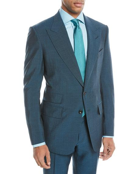Tom Ford Textured Wool-Blend Two-Piece Suit In Teal