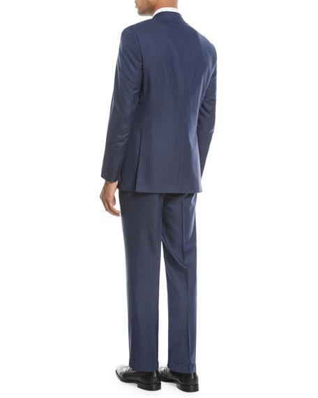 Brioni Multi-Striped Two-Piece Wool-Blend Suit In Navy