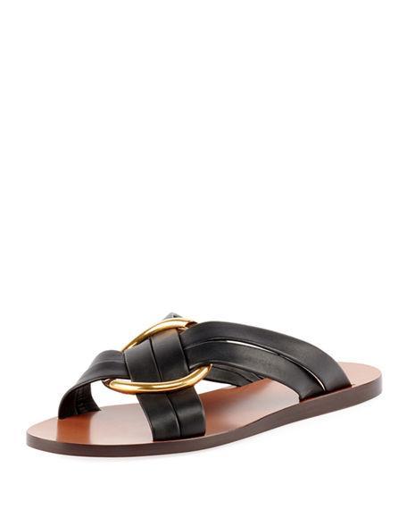 8dbb53f8619 ChloÉ Leather Ring Crisscross Slide Sandal