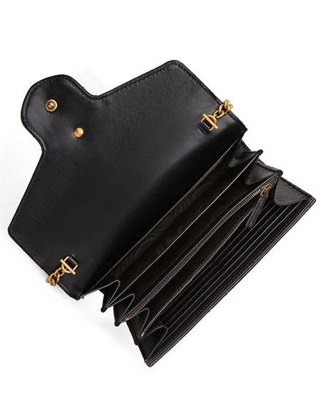 b20acc0e72f Gucci Gg Marmont Chevron Quilted Leather Flap Wallet On A Chain ...