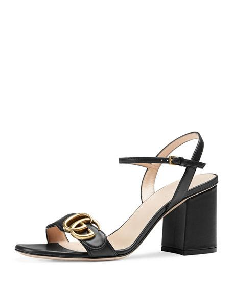 1f9dce3b58b Gucci Marmont Leather Gg Block-Heel Sandals