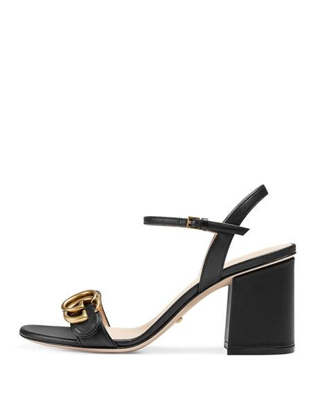 09f0d35e5ec0 Gucci Marmont Leather Gg Block-Heel Sandals