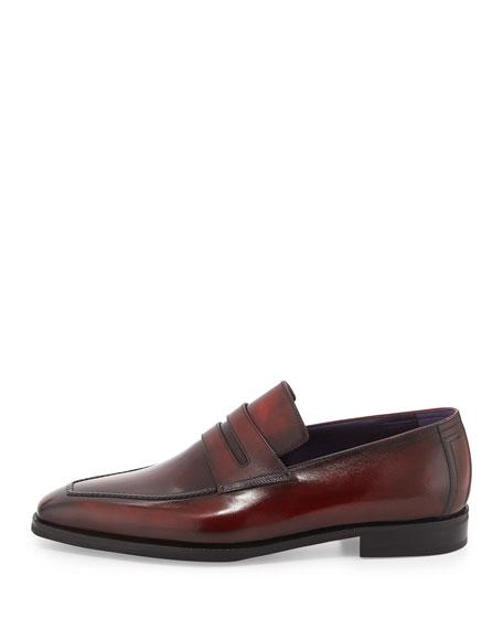 BERLUTI ANDY BURNISHED LEATHER LOAFER, RED,PROD125690819
