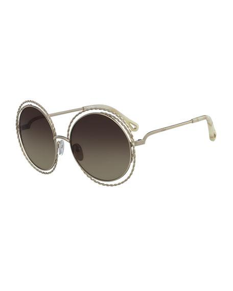 43a13ff3ef9c ChloÉ Carlina Round Concentric Metal Sunglasses In Brown Gold