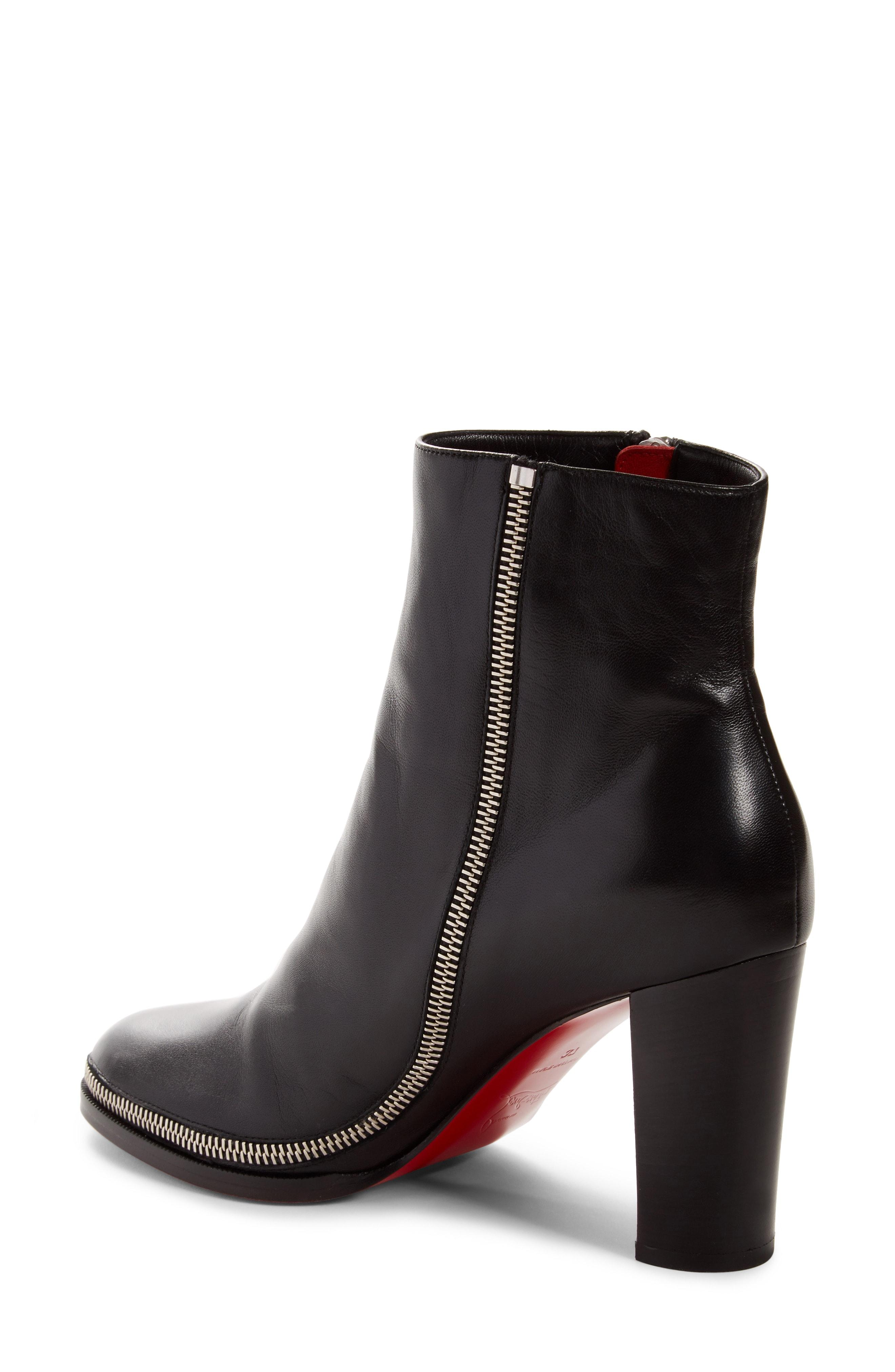 0b0128176d7b Christian Louboutin Telezip Crinkled Leather Red Sole Ankle Boots In Black