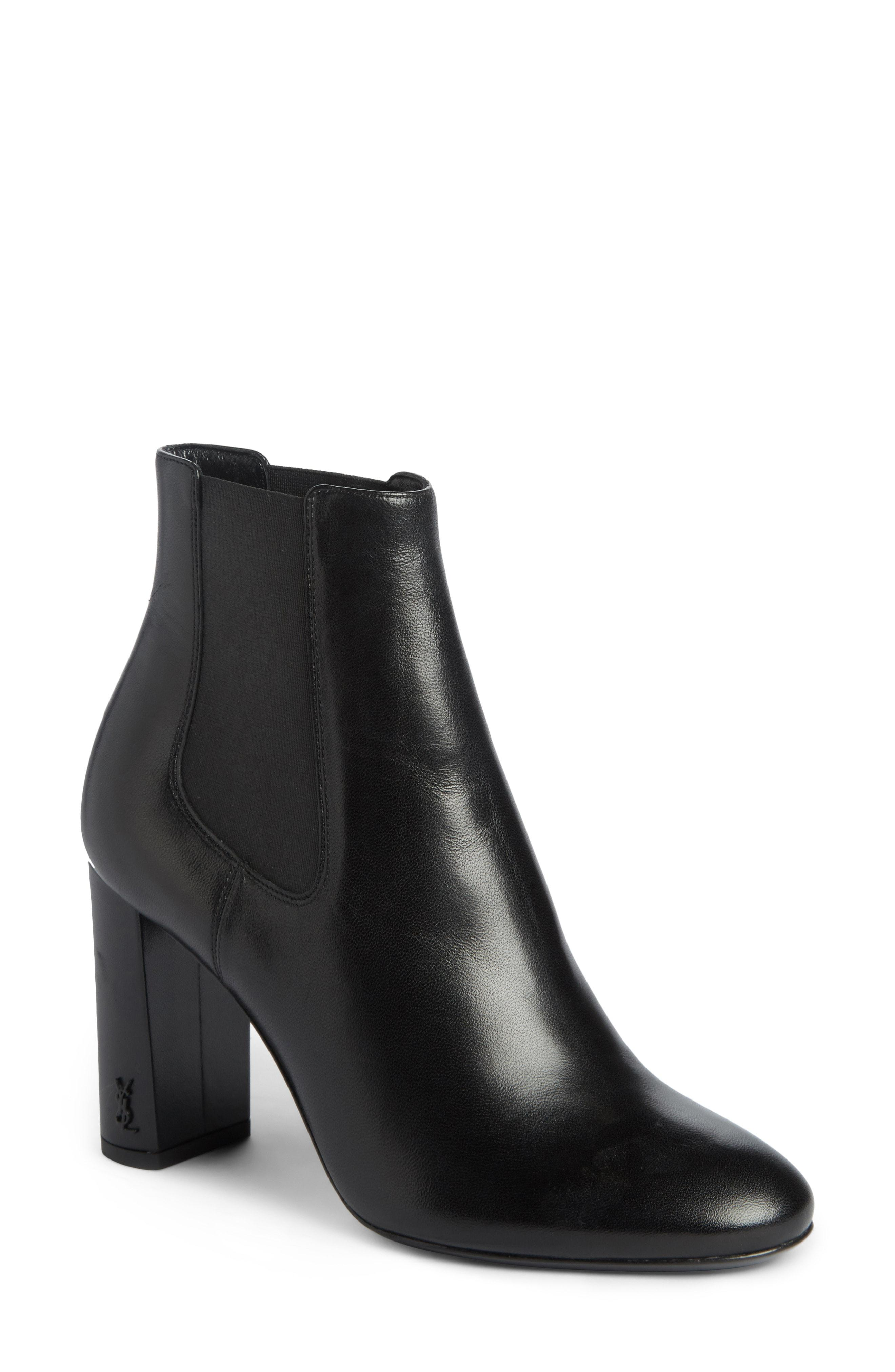 cf14883001f Saint Laurent Loulou 70 Leather Ankle Boots In Black