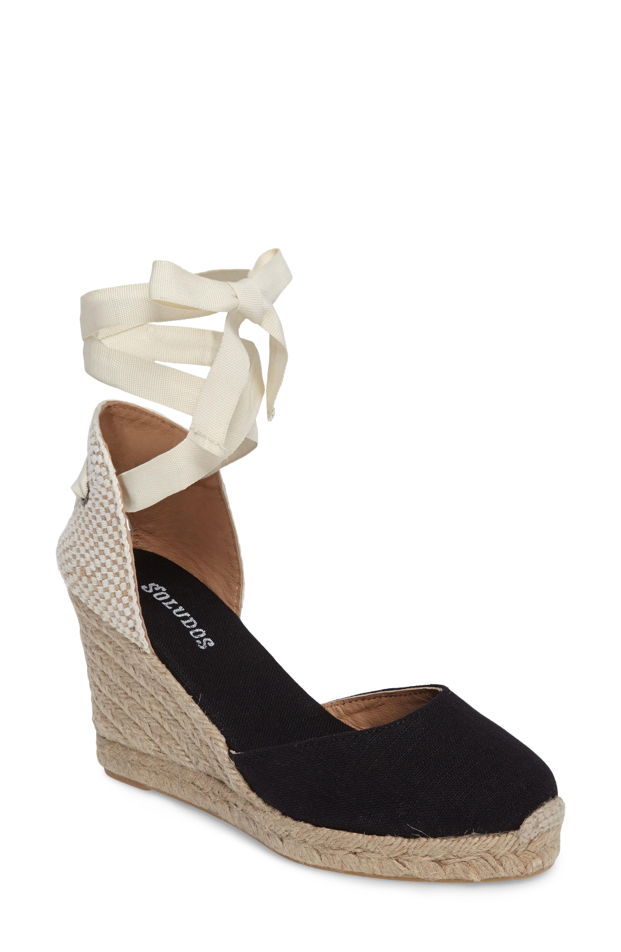 e203478ed53 Soludos Tall Lace Up Espadrille Wedge Sandals In Black