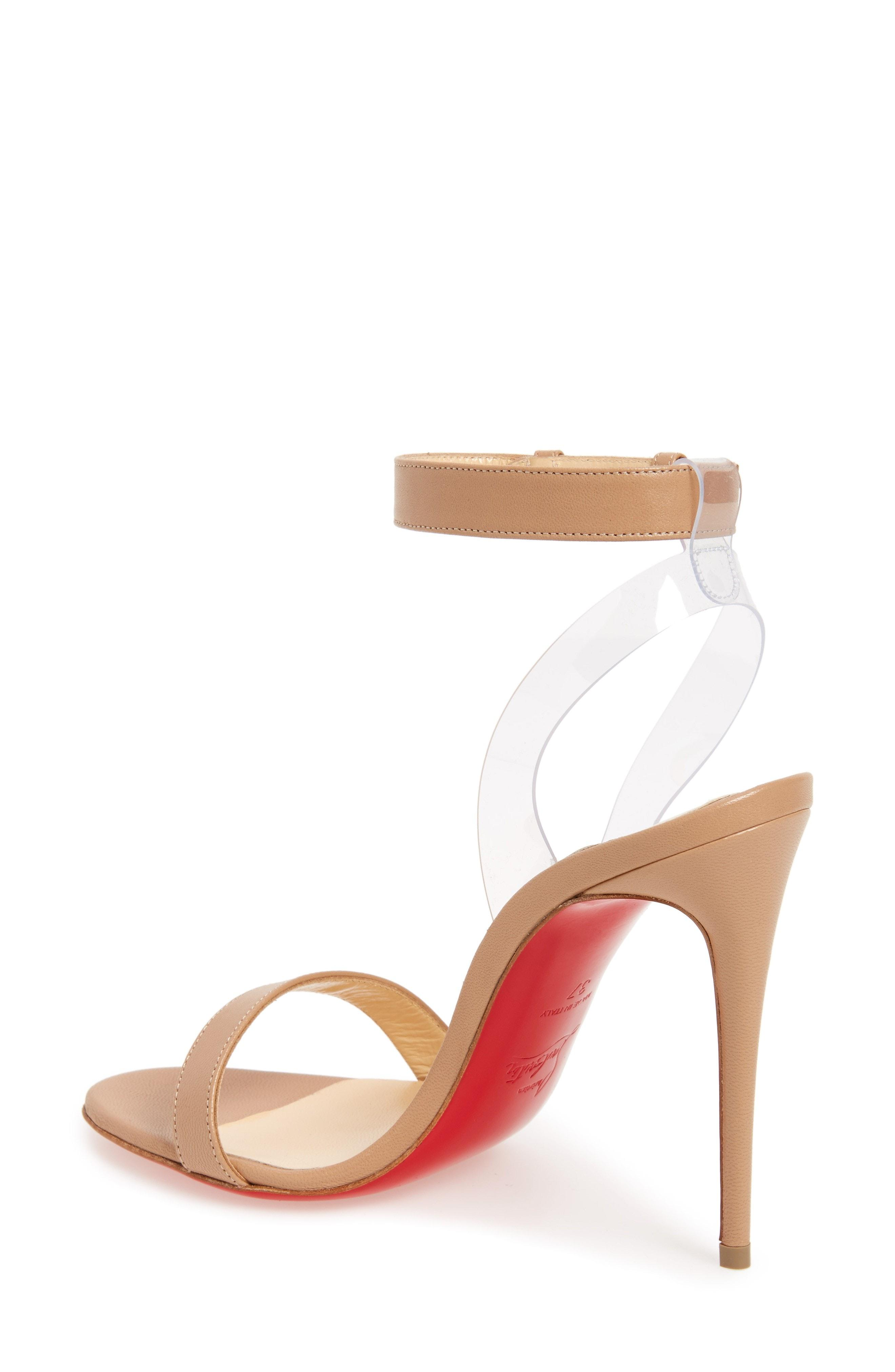 9ecef879639 Christian Louboutin Jonatina Illusion Ankle-Strap Red Sole Sandals In  Neutral