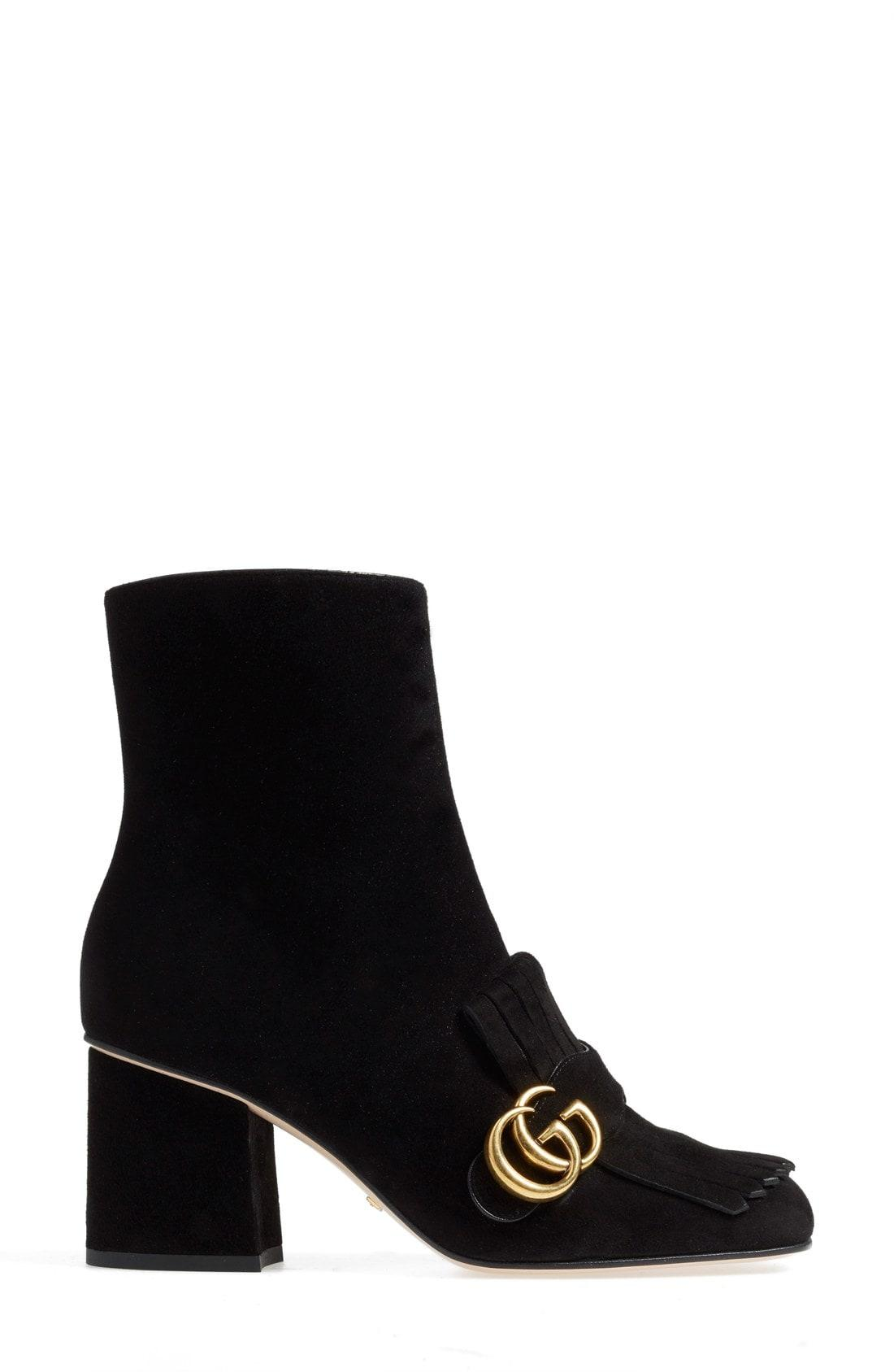 a6fae4a7620 Gucci Marmont Fringed Logo-Embellished Suede Ankle Boots In Black ...