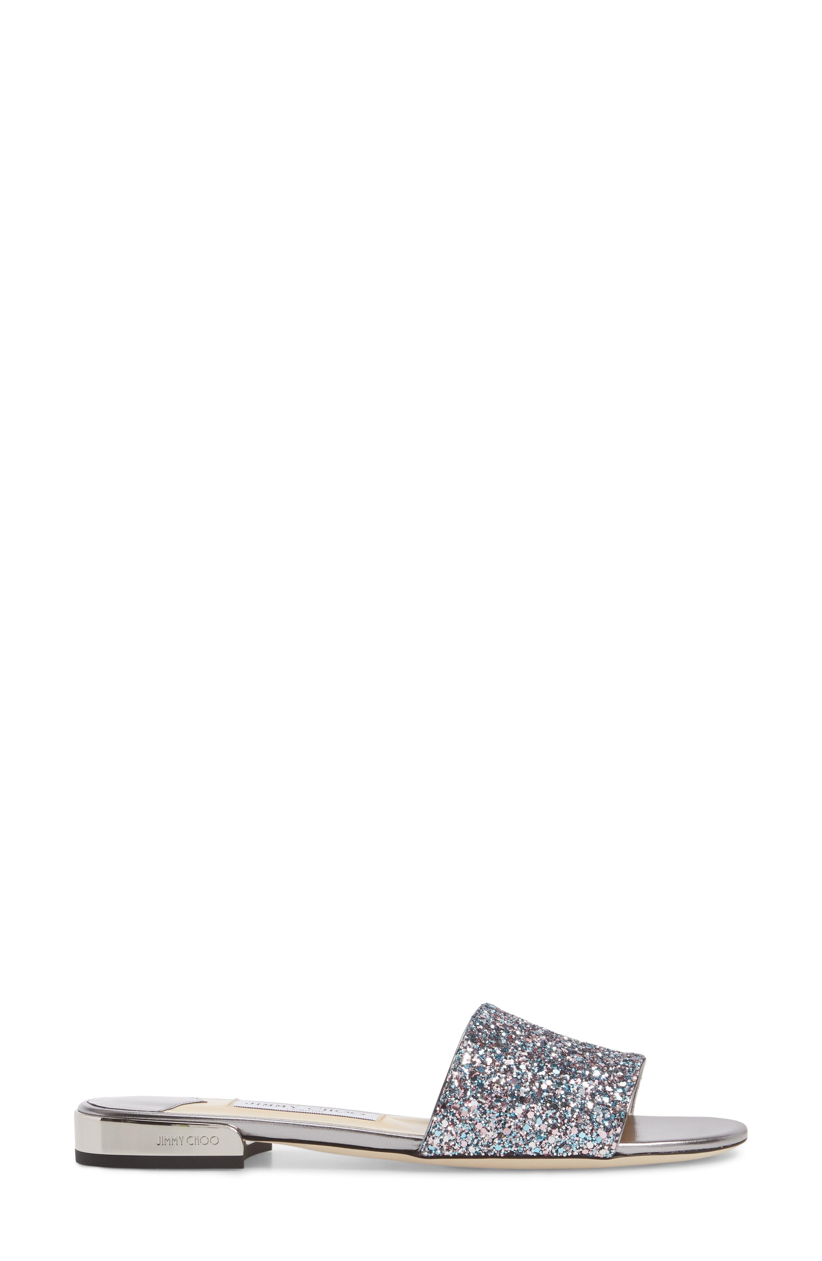 ea09a97a51b7 Jimmy Choo Joni Flat Bubblegum Mix Coarse Glitter Fabric Slides In  Multicolour