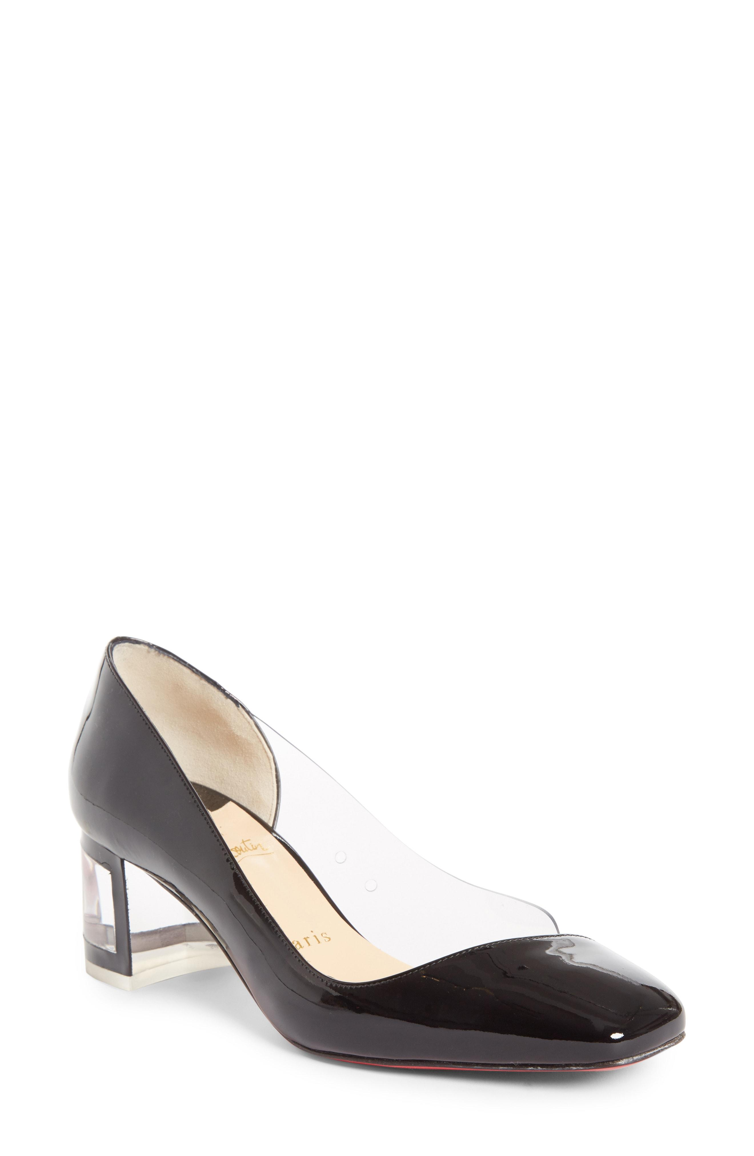 3696bb44578 CHRISTIAN LOUBOUTIN. Provisore Patent Clear Vinyl Red Sole Pumps in Black   Transparent