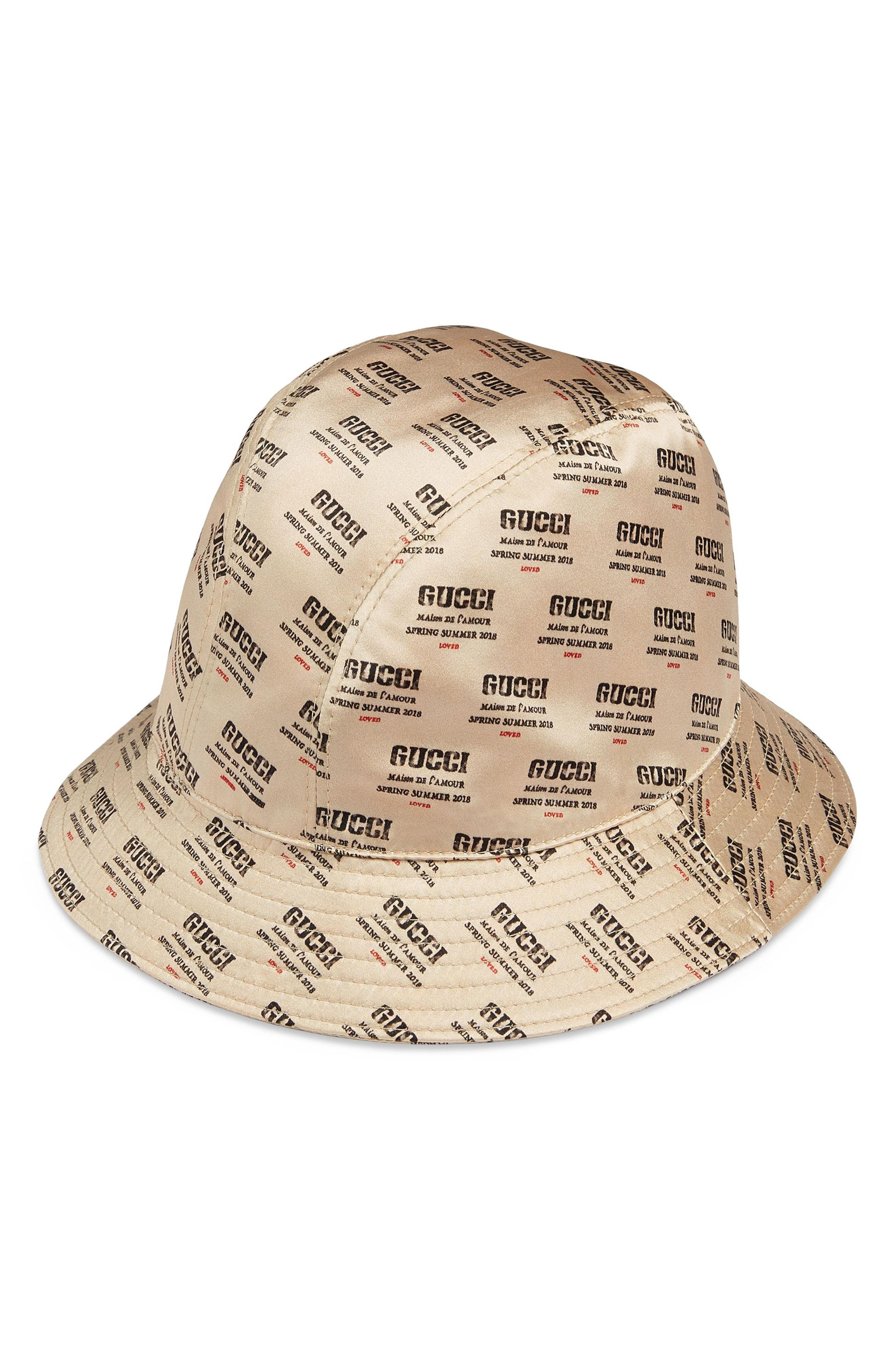 new style 5671b 207cb Donna Logo-Print Silk Bucket Hat in Ivorybone