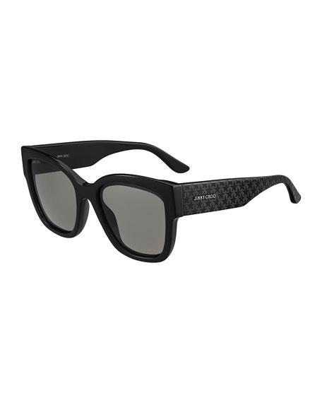 979960fa25b6 Jimmy Choo Roxies Square Star-Arms Acetate Sunglasses In Black ...