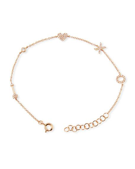 4ac03edb1ce8d 14K Diamond Sweetheart Charm Bracelet in Rose Gold