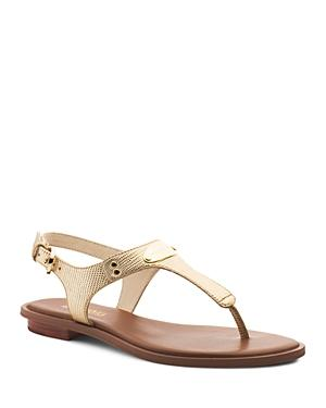 07ad3e961 Michael Michael Kors Women's Mk Plate Thong Sandals In Pale Gold ...