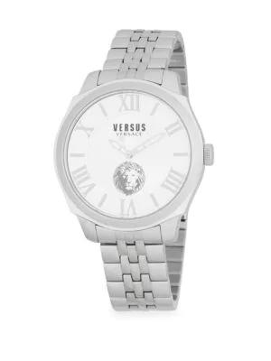 VERSACE Logo Water Resistant Stainless Steel Bracelet Watch,0400096971971