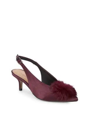 f8a47b78ce Saks Fifth Avenue Satin Slingback Faux Fur Kitten Heels In Bordeaux ...