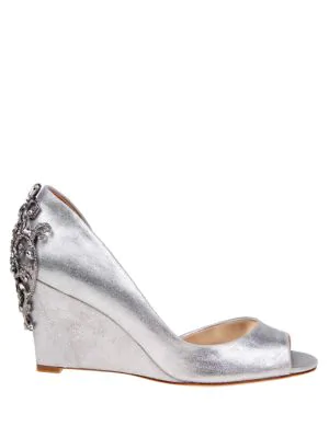 c06422a3876 Badgley Mischka Meagan Metallic Suede Embellished Half D Orsay Peep Toe  Wedge Pumps In Silver