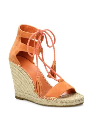 5051935a2c74 Joie Delilah Lace-Up Suede Espadrille Wedge Sandals In Persimmon ...