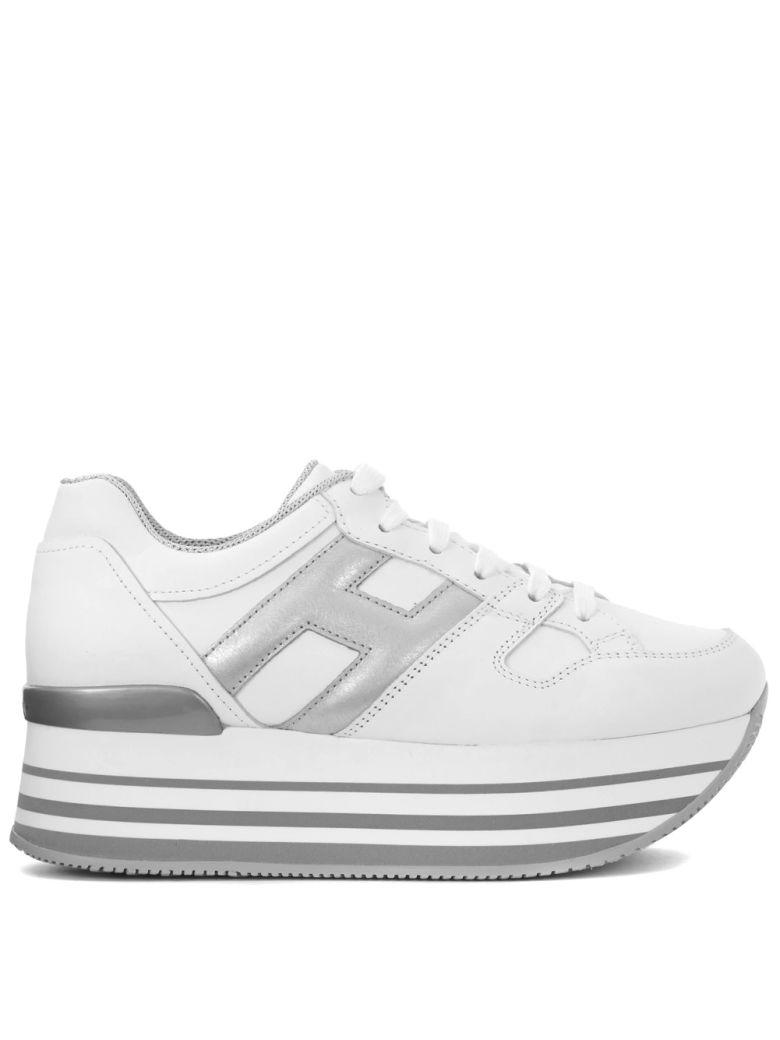 Hogan H222 Maxi Silver And White Leather Sneaker In Bianco | ModeSens