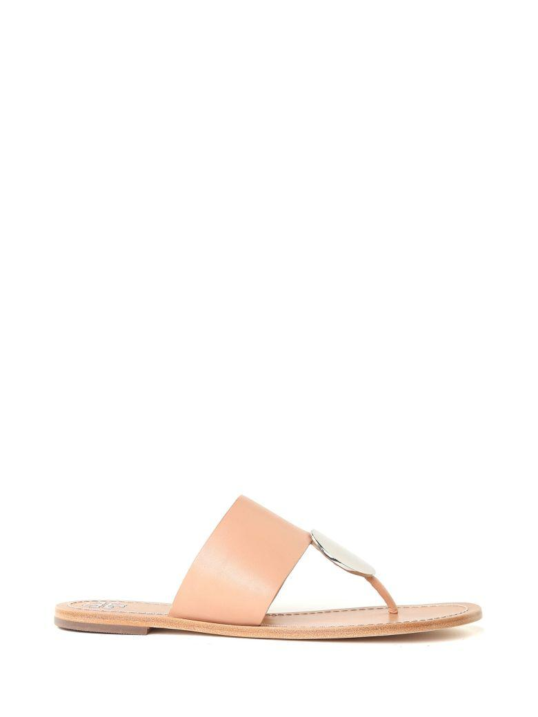 45d89125791 Tory Burch Patos Disc Smooth-Leather Thong Sandals In Natural Silver ...