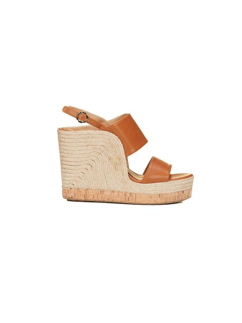 c748aeff9e0 Salvatore Ferragamo Women s Leather Slingback Espadrille Wedge Sandals In  Sella