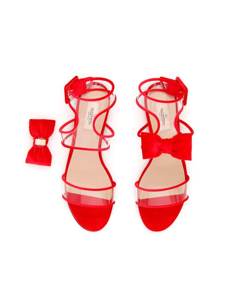 4acdb87e0fdd Valentino Dollybow Bow-Embellished Velvet Sandals In Hot-Pink