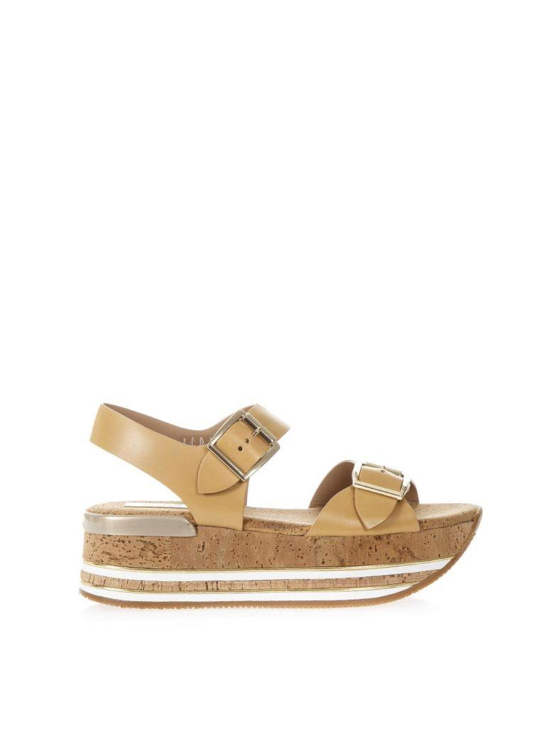 aba0c35b7c9 Hogan Maxi H222 Cork   Leather Sandals In Camel