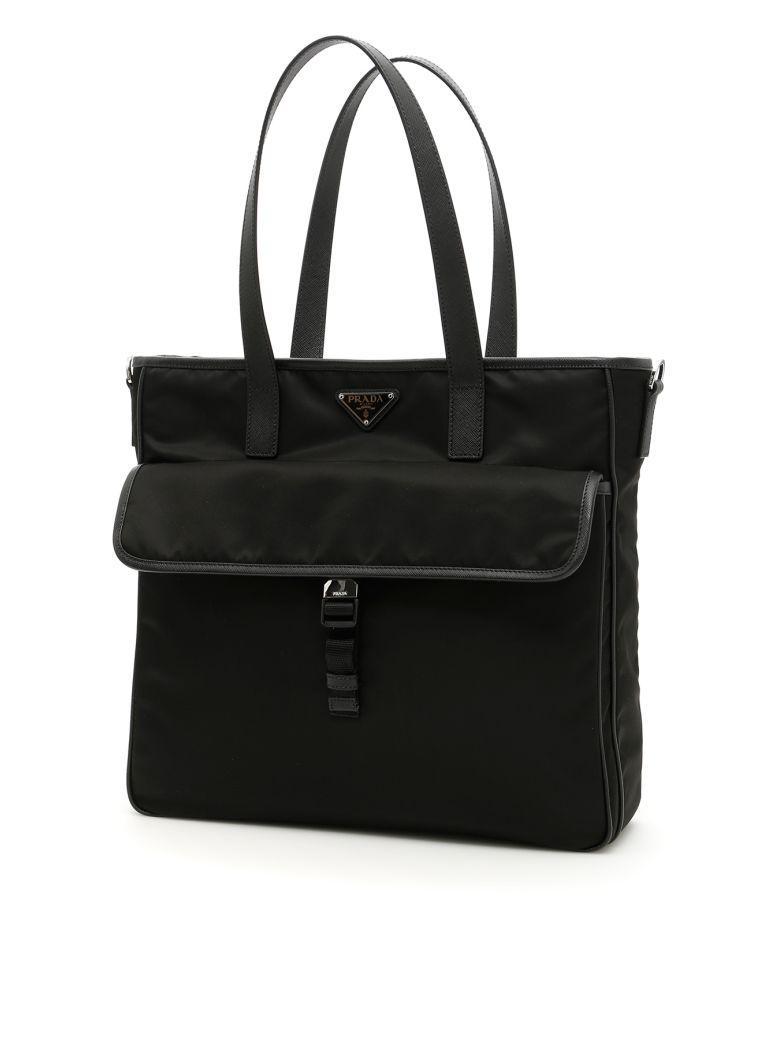 Prada Nylon And Saffiano Tote Bag In Nero 88e77dadb712a