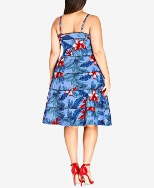 City Chic Trendy Plus Size Tropical-Print Fit & Flare Dress In ...
