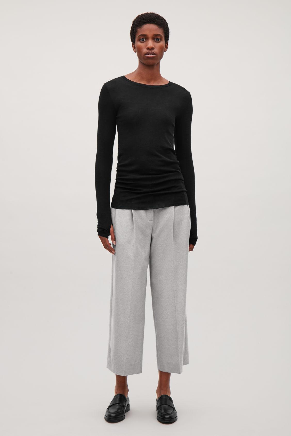 0ac67f3b2a844 Cos Sheer Wool Long-Sleeved Top In Black