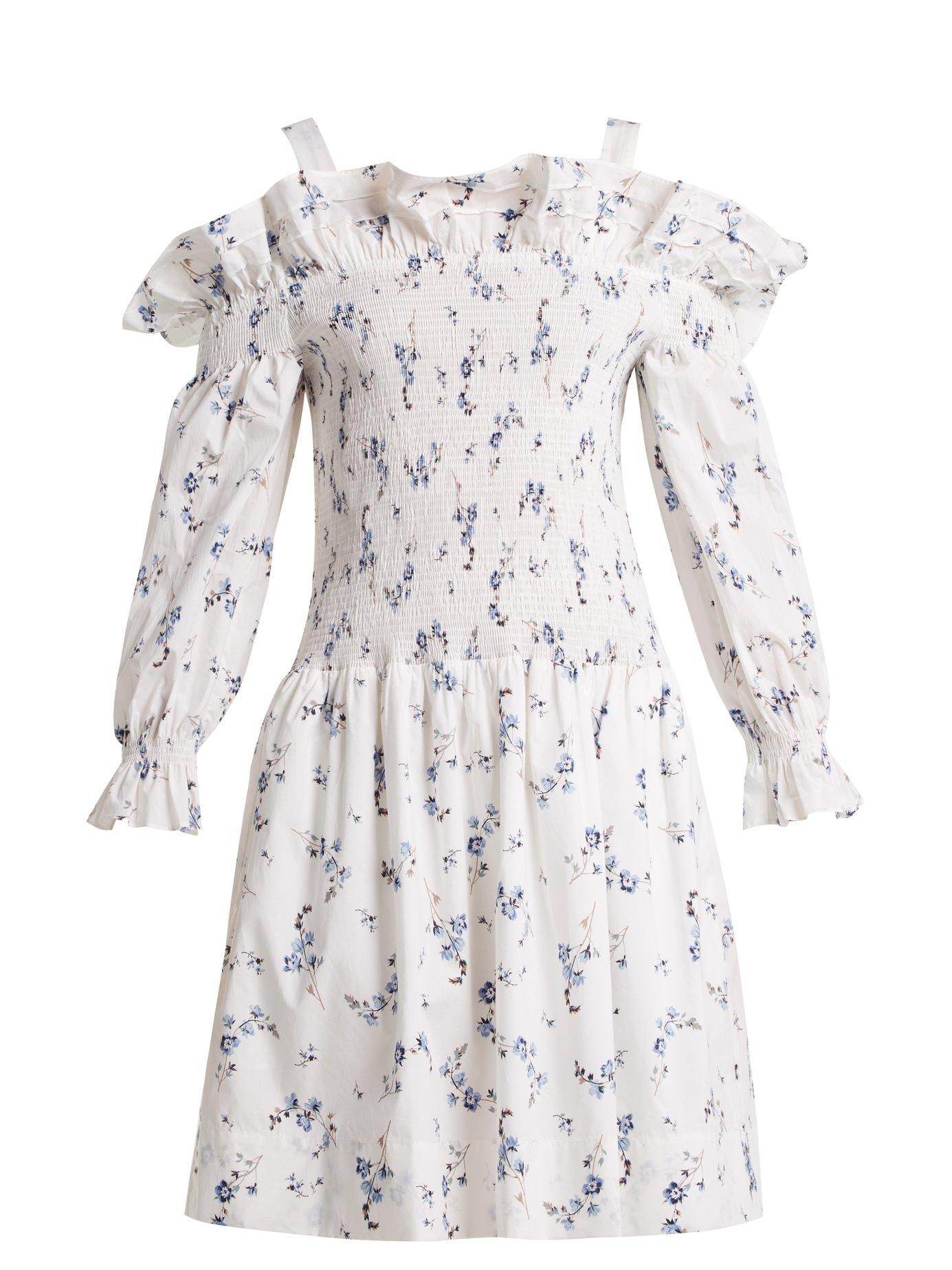 6a6210e65e Rebecca Taylor Francine Off-The-Shoulder Floral-Print Dress In White Print