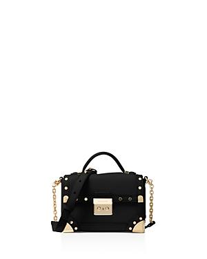 f7412154f50a7 Michael Kors Cori Small Leather Trunk Bag In Black Gold