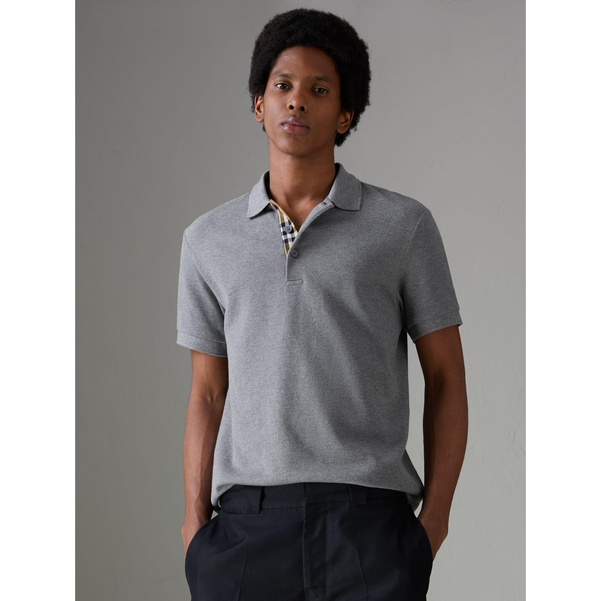 258e88ace6140 Burberry Check Placket Cotton Polo Shirt In Mid Grey Melange