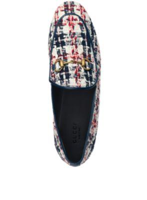 Gucci Jordaan Horsebit-Detailed Leather-Trimmed Tweed Loafers In Multicolour