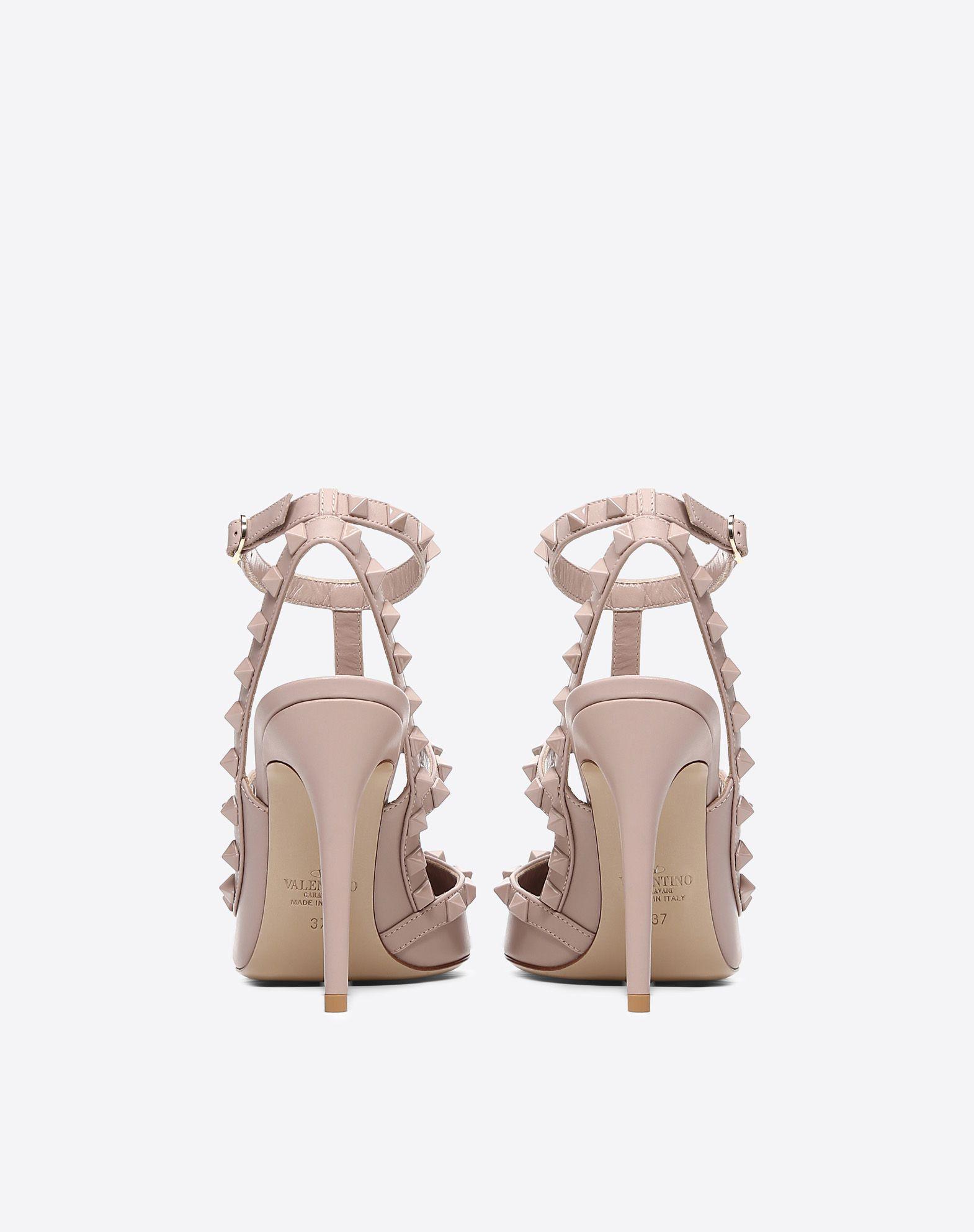 b95ecc876 Valentino Rockstud Ankle Strap Pump With Tonal Studs 100 Mm In  Champagne-Nude