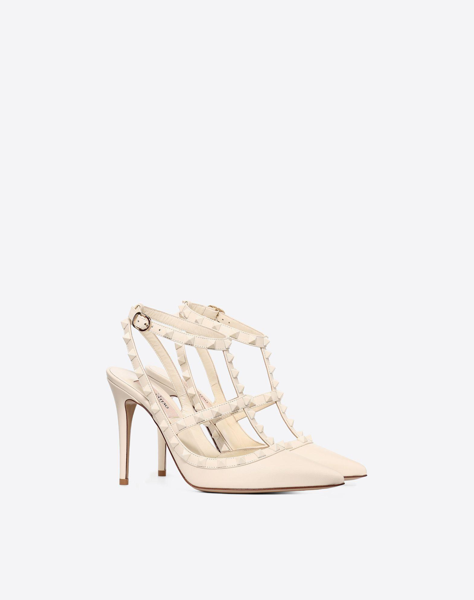 6bd9b4b5341 Valentino Lacquer Stud Rockstud Caged Pump 100Mm In Poudre