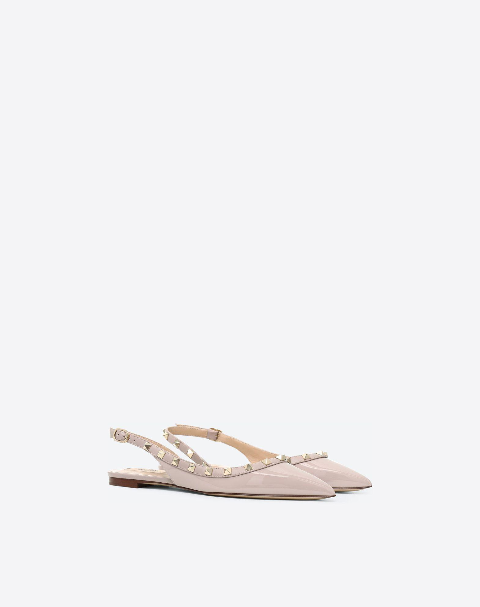 4a4d8f326e38 Valentino Rockstud Smooth Leather Slingback Ballerina Flats In Pink ...