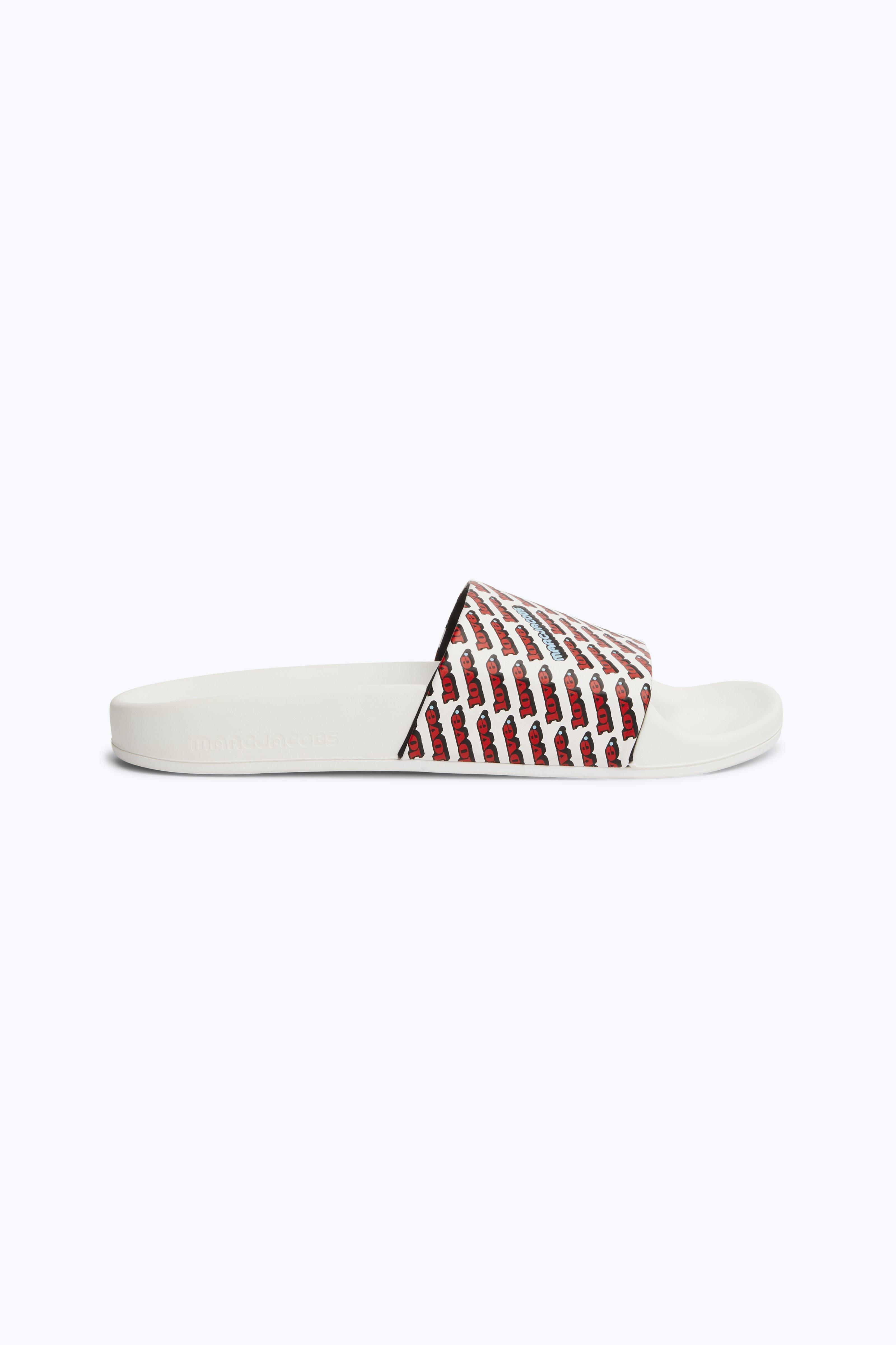 23cec2ff219e23 Marc Jacobs Women s Love Aqua Leather Slide Sandals In White