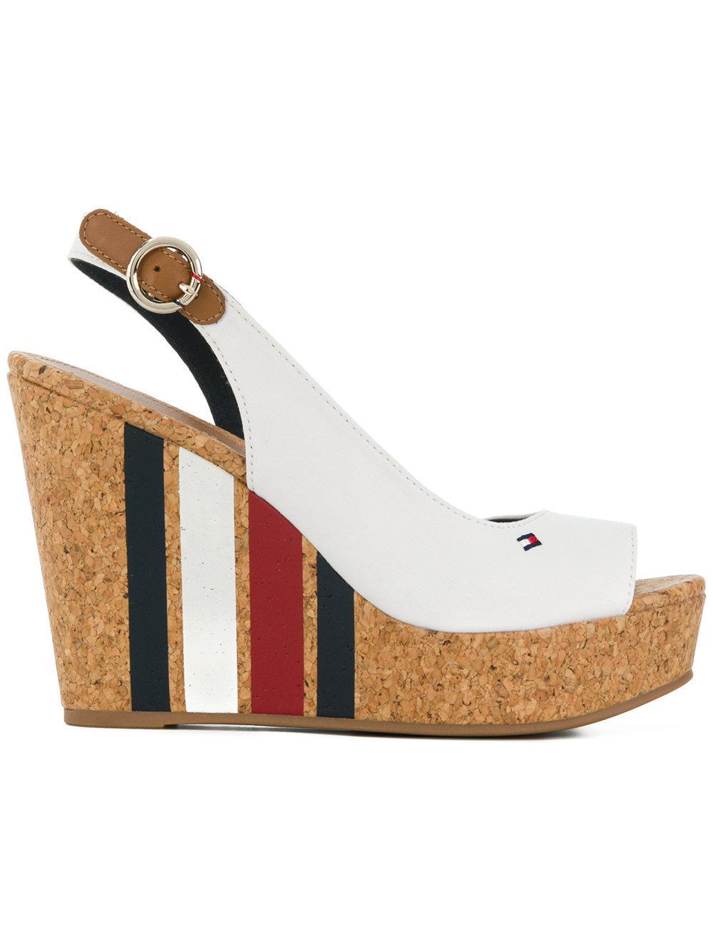 6ec09163e672 Tommy Hilfiger Striped Wedge Heel Sandals - White