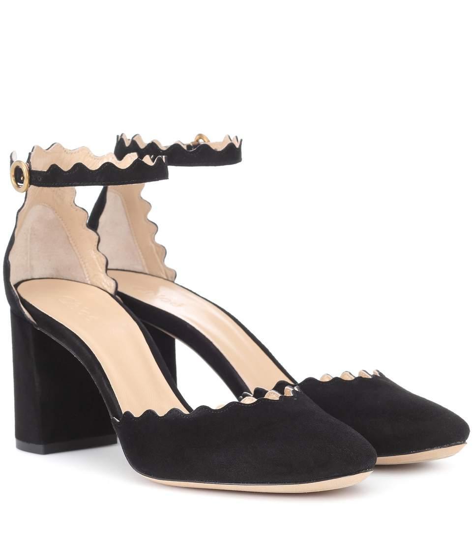 8e91661b18d6 ChloÉ Women s Lauren Scalloped Suede Ankle-Strap Pumps In Black ...
