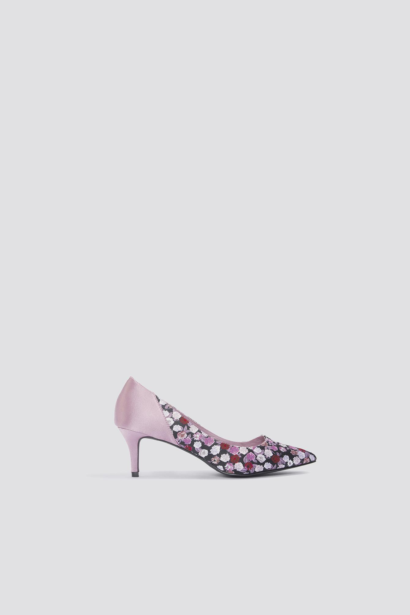 e83ef7dded Na-Kd Block Mid Heel Satin Pumps - Pink, Multicolor In Pink,Multicolor