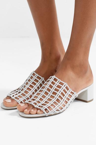 0008056aea65d Mansur Gavriel Grid Metallic Leather Cutout Block-Heel Mule Slide Sandals  In White